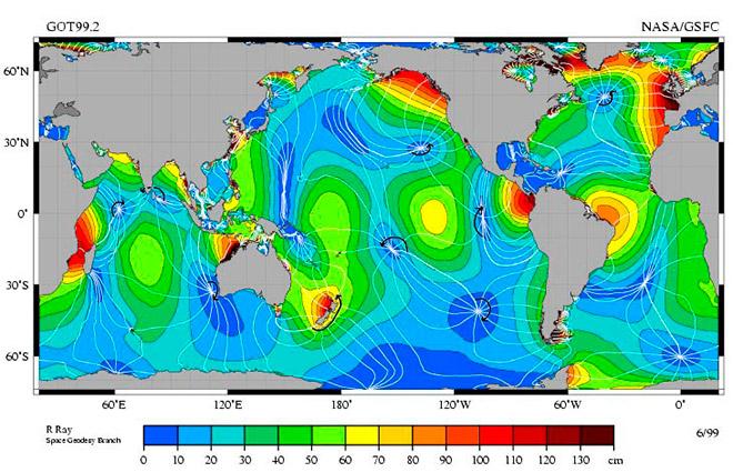 Высота приливов на побережье Мирового океана